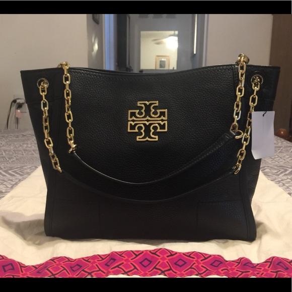 8a4f010c639b Tory Burch Black Leather Mercer Tote Bag
